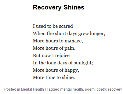 Pooky Knightsmith Recovery Shines poetry poem