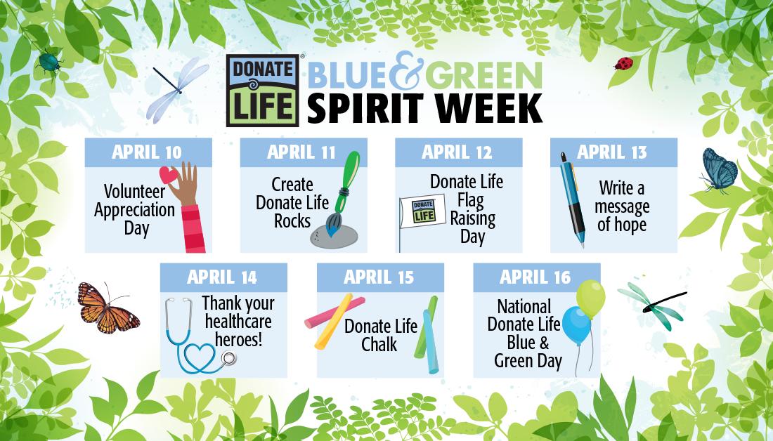 a calendar for Donate Life Month Blue & Green Spirit Week