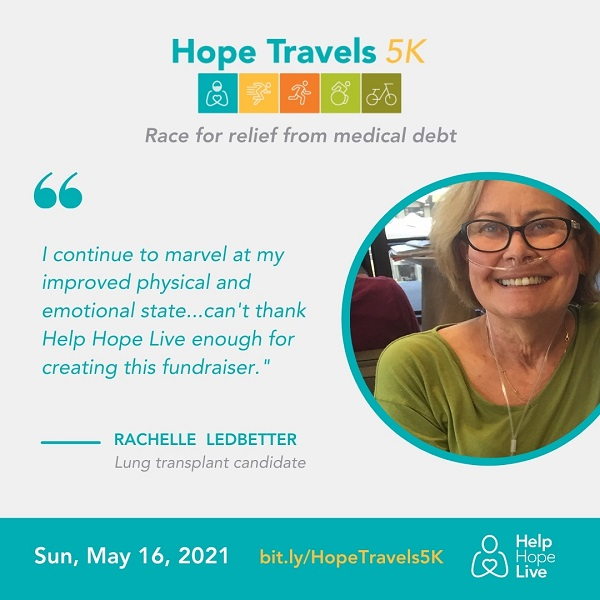 a picture of client Rachelle Ledbetter with a quote about her participation in Hope Travels