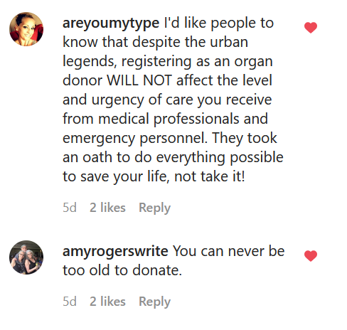 two social media comments describing myths about organ donation