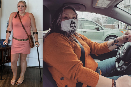 woman with disability driving crutches hand controls